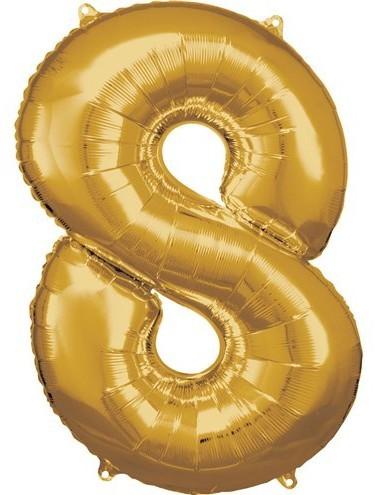 Gouden nummer 8 folieballon 86cm