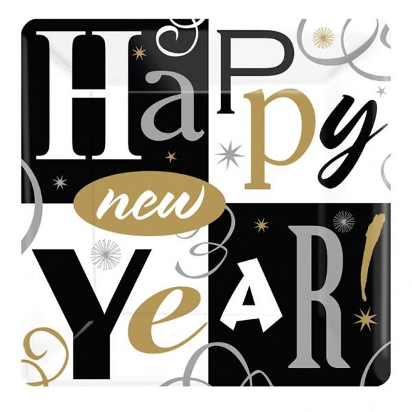 8 assiettes en papier Sparkling New Year 18cm