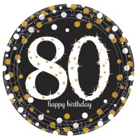 8 Golden 80th Birthday Pappteller 23cm