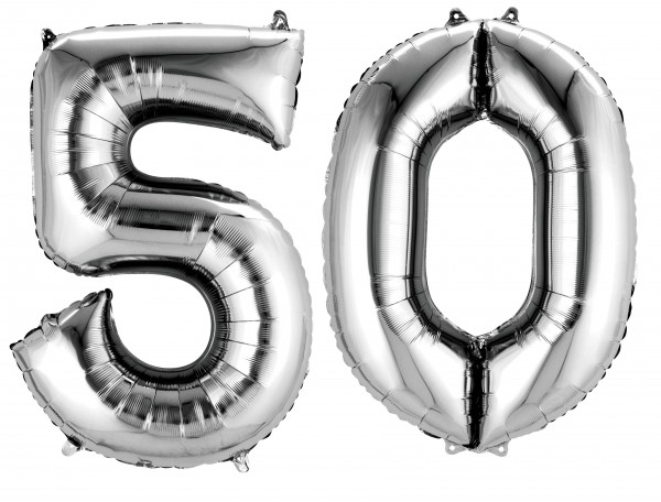 Foil balloon number 50 silver metallic 88cm