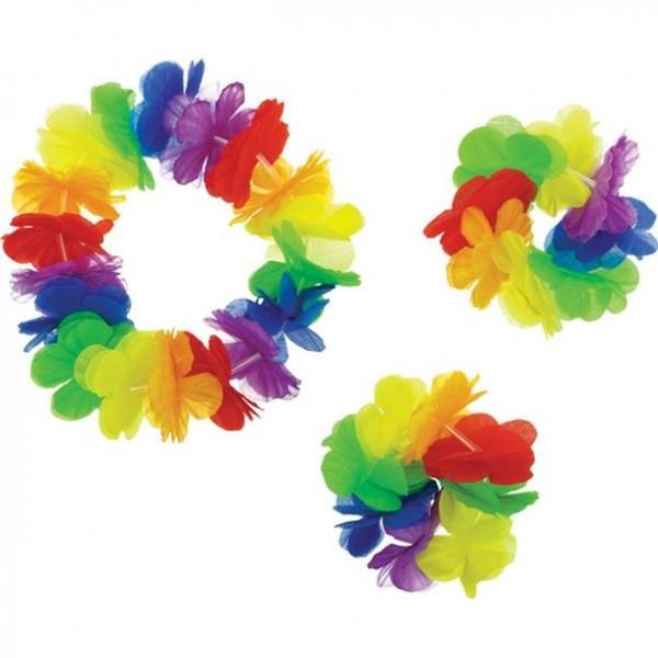 Set bracciali e fascia Hawaii arcobaleno