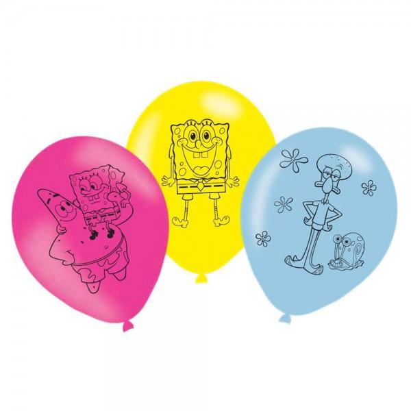 6 Spongebob Latexballons 27,5cm