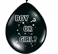 8 schwarze Ballons boy or girl 30cm