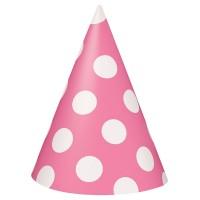 8 Partyhüte Tiana Rosa Gepunktet 15cm
