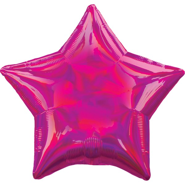 Holographic star balloon magenta 45cm