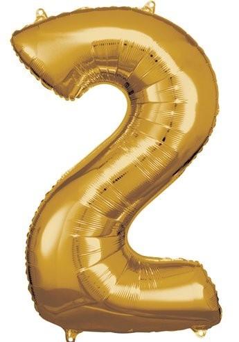 Goldener Zahl 2 Folienballon 86cm