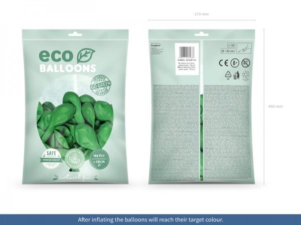 100 eko pastelowych balonów zielonych 30cm