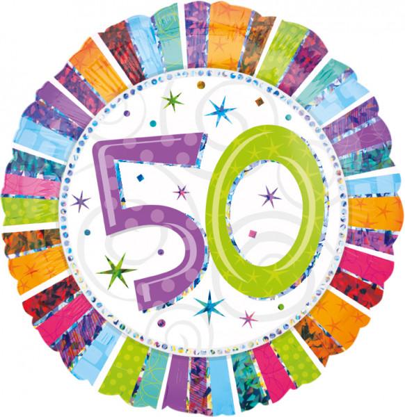 Kleurrijke 50e Verjaardag ballon 45cm