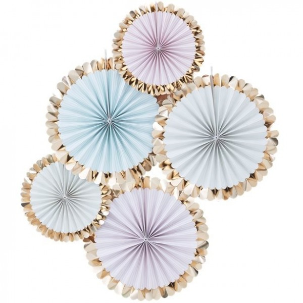 5 pastel colored decorative rosettes gold metallic