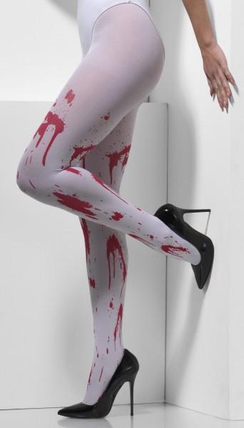 Blickdichte Weiße Strumpfhose Blutverschmiert