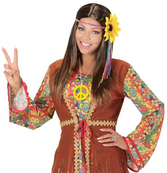 Parrucca hippie con fascia per capelli colorata