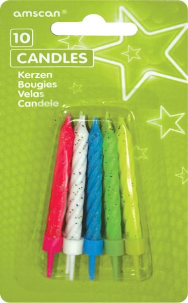 Velas de pastel brillantes de colores Incluye soporte 10 piezas