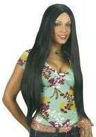 Perruque cheveux longs noirs Sheila
