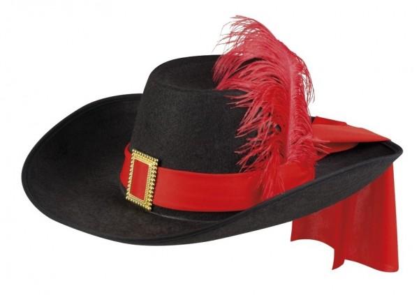 Musketier Hut mit roter Feder