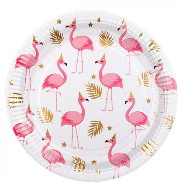 6 Party Flamingo Pappteller weiß 23cm