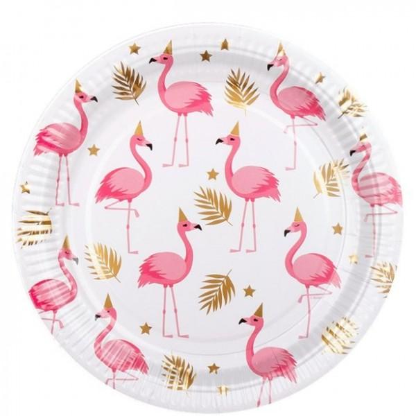 Talerze papierowe 6 party flamingo białe 23cm