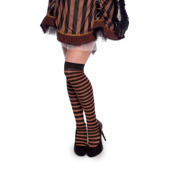 Steampunk overknee kousen bruin gestreept