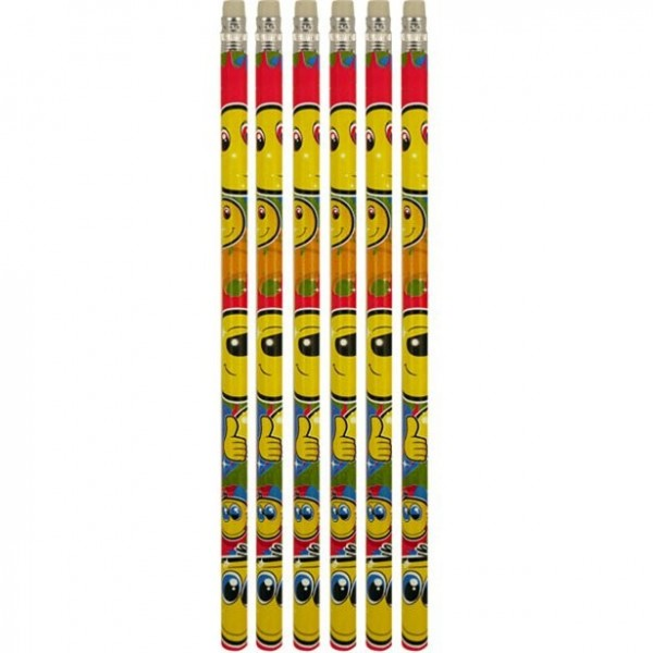 6 smiley pencils with eraser