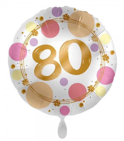 Globo 80 cumpleaños Happy Dots 45cm