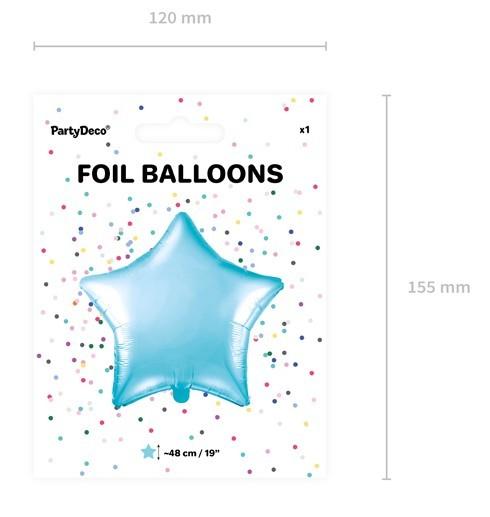 Ballon étoile bleu clair scintillant 48cm