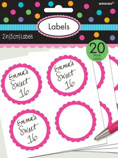 20 etykiet w formie bufetu z różową obwódką w kwiaty