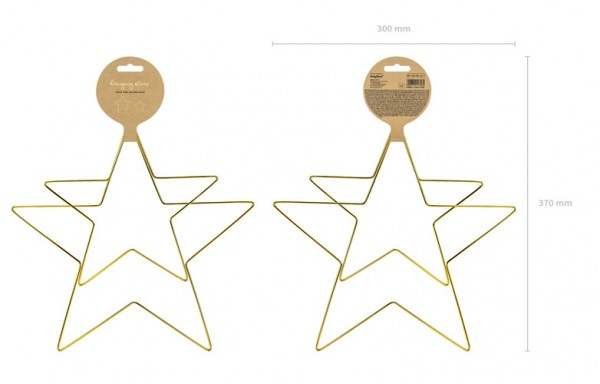2 gold star metal hangers 28cm 3