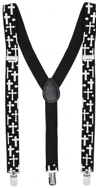 Bekreuzte Hosenträger Schwarz-Weiß