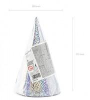 6 Holografische Partyhüte silber 17cm
