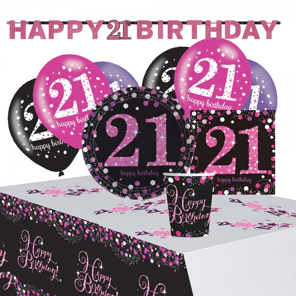 Pink 21st Birthday decoration set 41 pieces