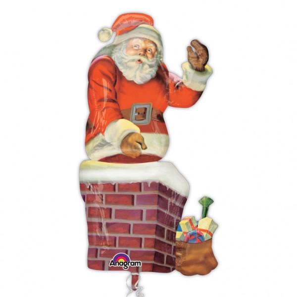 Père Noël dans la cheminée ballon 73cm x 1,34m