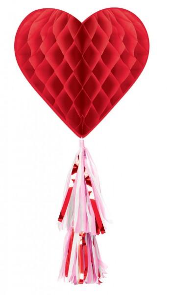 Herz Wabenball mit Anhänger 55cm
