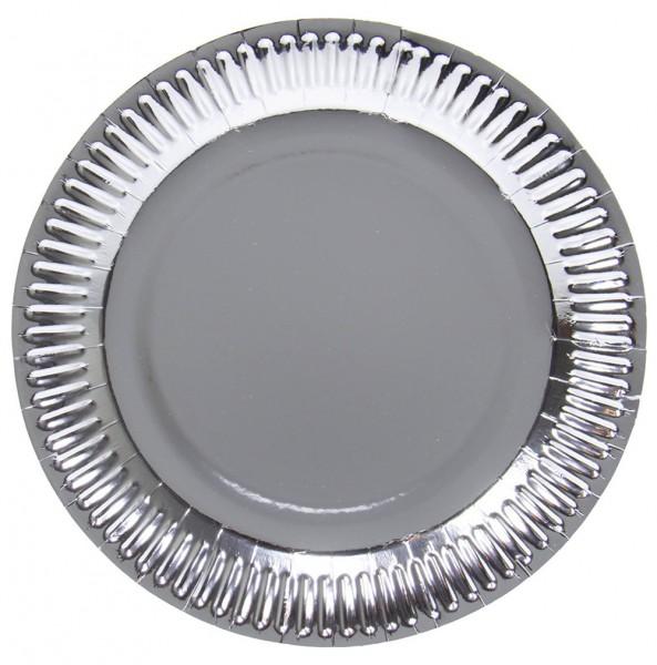 8 assiettes métalliques argentées 23cm