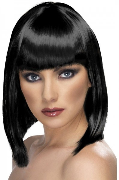 Bob long hair wig black