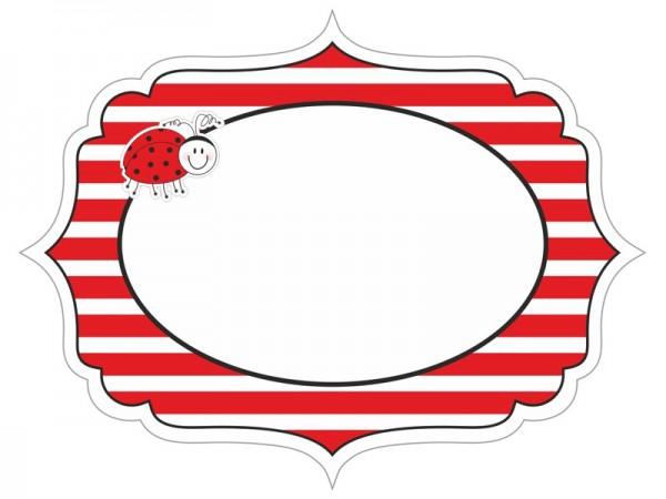 6 étiquettes de fête coccinelle 9 x 7 cm