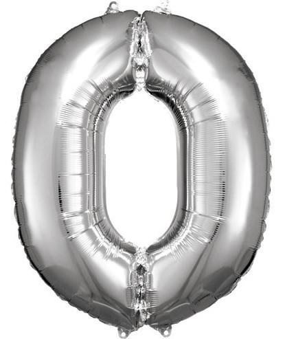 Silberner Zahl 0 Folienballon 86cm