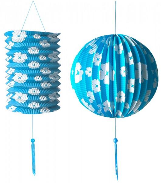 Blaues Blumen Laternen Set 2 Teilig