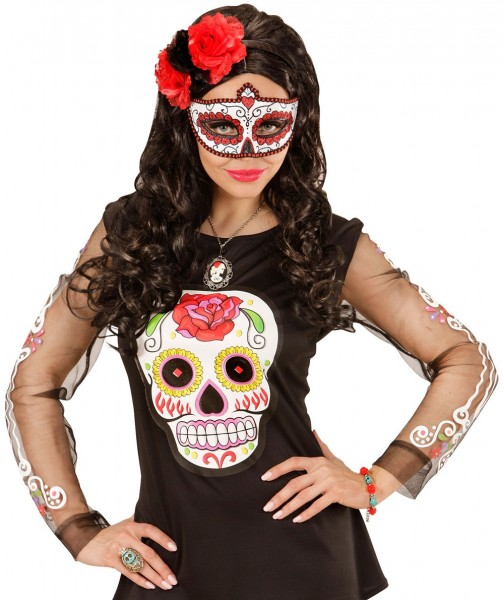 Masque pour les yeux Dia De Los Muertos Blanc-Rouge