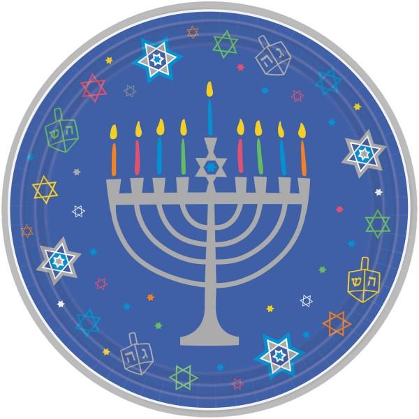 18 platos de papel Happy Hanukkah 27cm