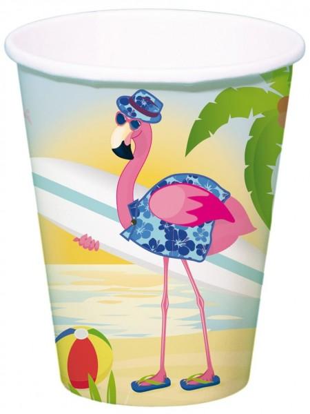 8 Surfer Flamingo Pappbecher 350ml