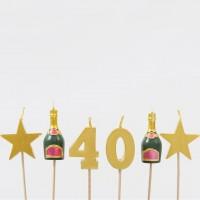 40. Geburtstag Tortenkerzen Set 6-teilig