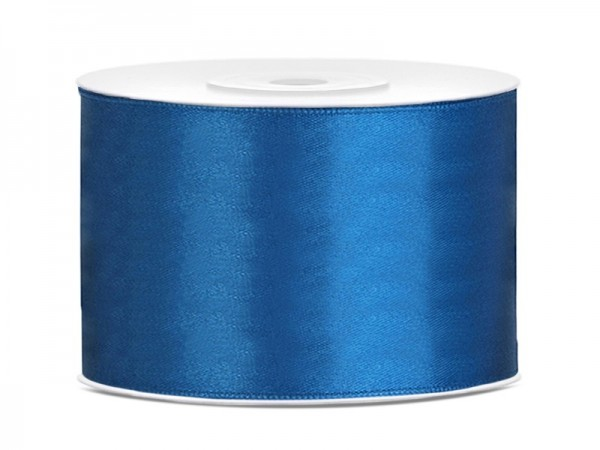 25m satin gift ribbon blue 5cm wide