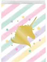 10 Golden Unicorn Geschenktüten 22cm