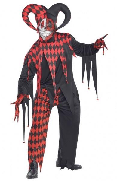 Creepy harlequin Piedro men's costume