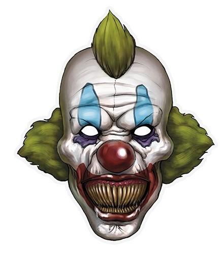 Papieren masker met elastische horror clown