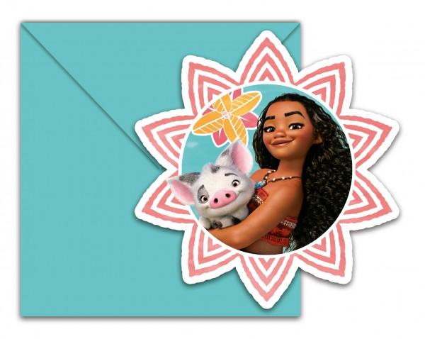 6 Vaiana Einladungskarten und Briefumschläge 12,5x12,5cm