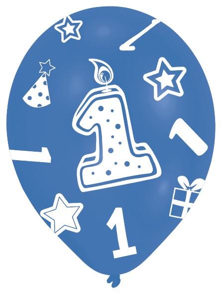 6 niebieskich balonów na 1 urodziny chłopczyk 28cm