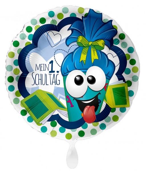 Blauer Folienballon Erster Schultag 43cm