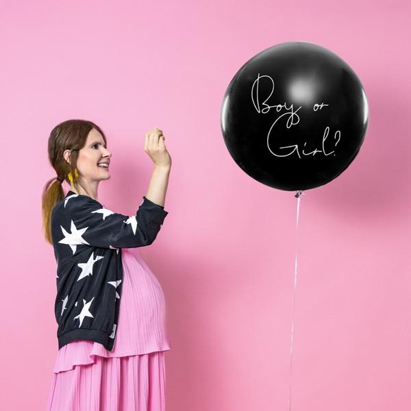 Balon z konfetti dla chłopca lub dziewczynki różowy 1m