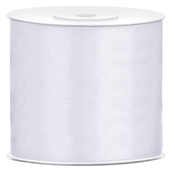 25m satin gift ribbon white 7.5cm