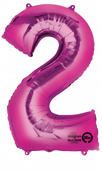 Number balloon 2 pink 88cm